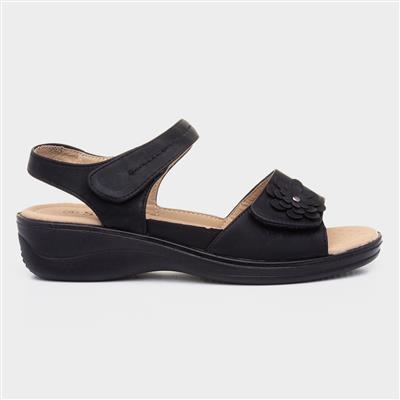 Womens Black Easy Fasten Comfort Sandal