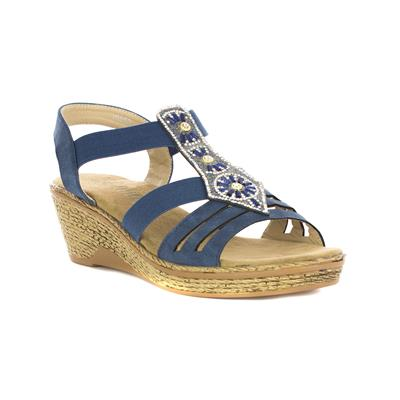 Womens Navy Diamante Wedge Sandal