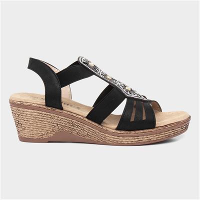 Womens Black Slip On Wedge Sandal