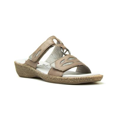 Womens Taupe Leather Easy Fasten Sandal
