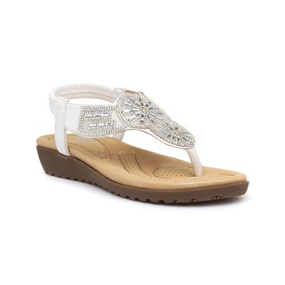 Womens White Toe Post Sandal