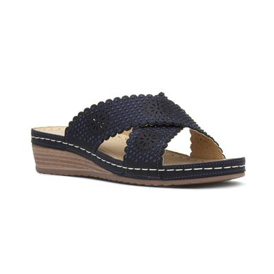 Womens Navy Diamante Slip On Mule Sandal