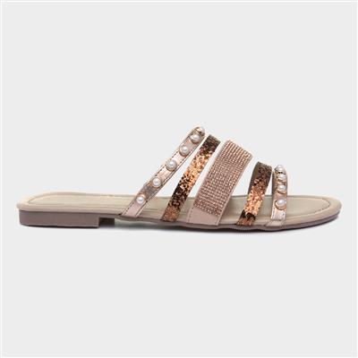 Womens Bronze Slip On Mule Sandal