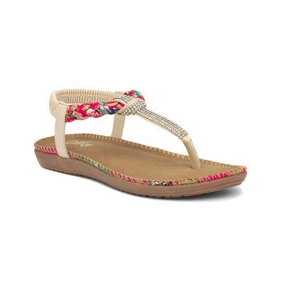 Womens Beige & Pink Diamante Flat Sandal