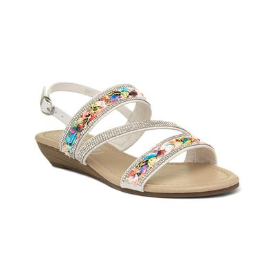 Womens White Low Wedge Sandal