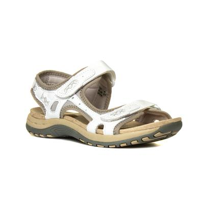 Frisco Womens White Leather Sandal