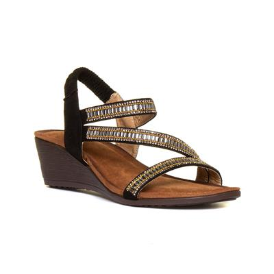 Sofia Womens Black & Tan Wedge Sandal