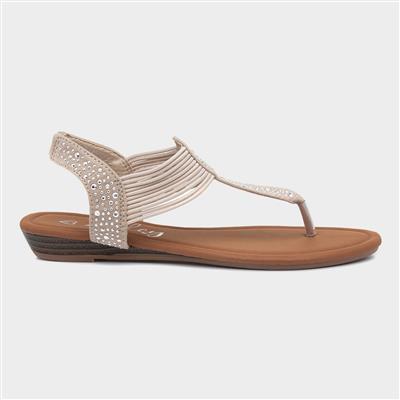 Womens Beige Slip On Toe Post Sandal