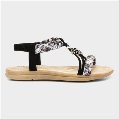 Womens Black Plait Slip On Sandals