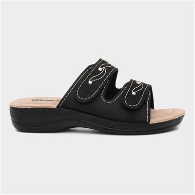 Womens Black Slip On Mule Sandal