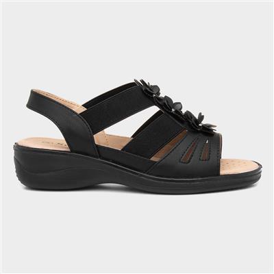 Womens Black Strappy Comfort Sandal