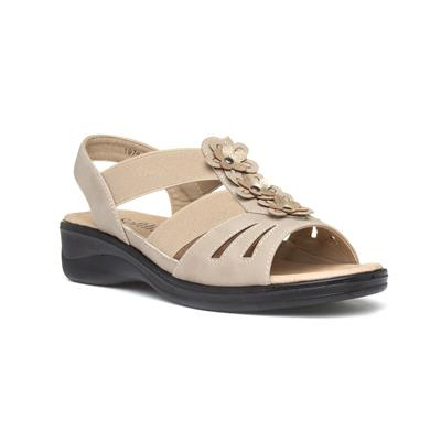 Womens Beige Slip On Flat Sandal