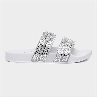 Womens White Diamante Slider