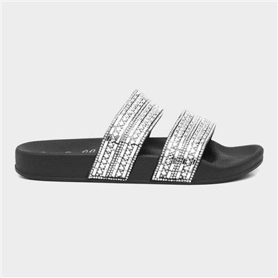Womens Black Diamante Slip On Sandal