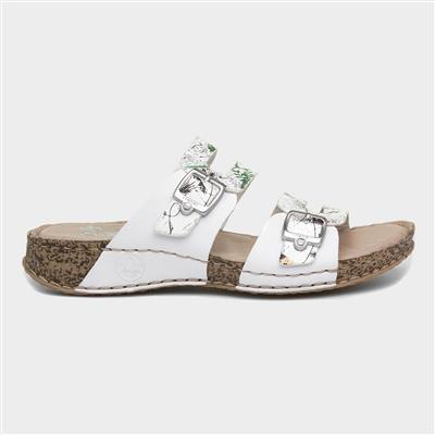 Womens White Floral Leather Mule Sandal