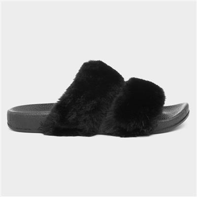 Womens Black Slider with Faux Fur