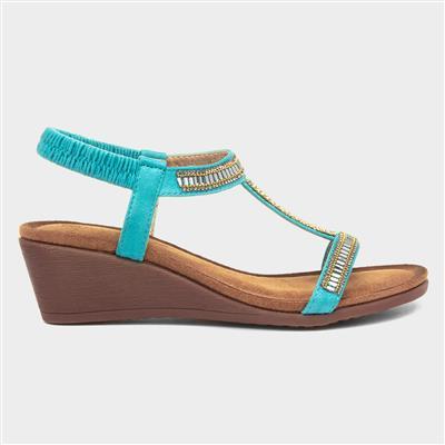 Tabitha Womens Turquoise Wedge Sandal
