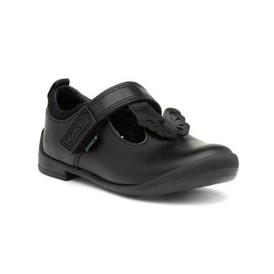 Bridie Flutter Girls Black Leather Shoe