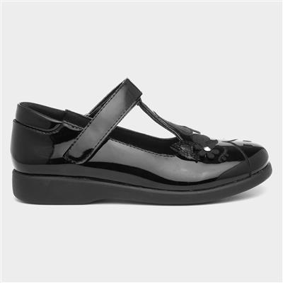 Girls Black Patent Unicorn School Shoe