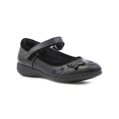 Girls Black Coated Leather Shoe