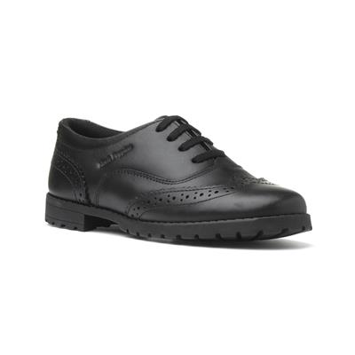 Eadie Girls Black Lace Up Brogue Shoe