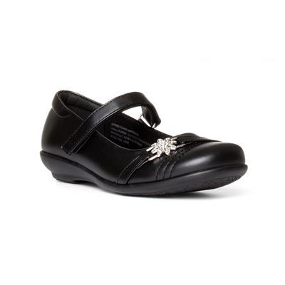Girls Black Easy Fasten School Shoe