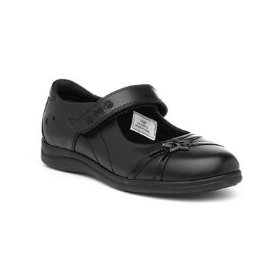 Girls Black Leather Riptape Shoe