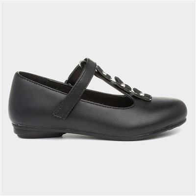 Girls Black Butterfly Flat Shoe