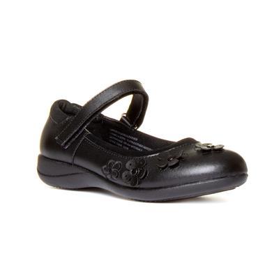 Girls Easy Fasten Leather Shoe in Black