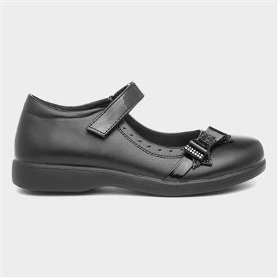 Girls Easy Fasten Black School Shoe