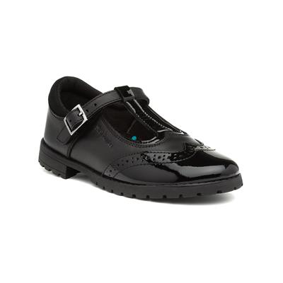 Maisie Girls Black Leather T Bar Shoe
