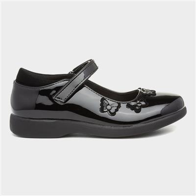 Girls Patent Easy Fasten Shoe in Black