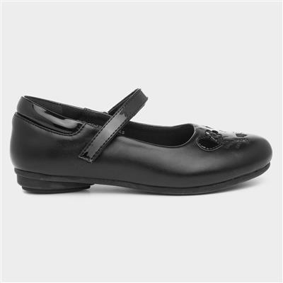 Girls Black Cat Face School Shoe