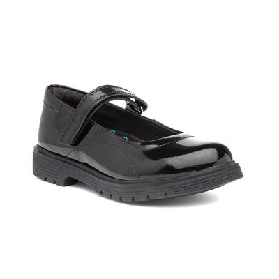 Tally Girls Black Leather School Shoe