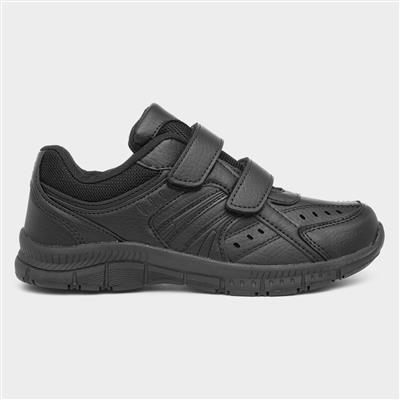 Boys Black Touch Fasten School Shoe