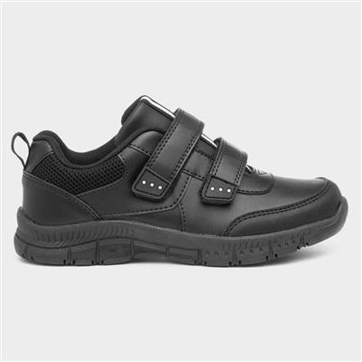 Boys Black Easy Fasten School Shoe