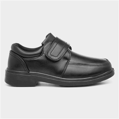 Boys Black Touch Fasten Formal Shoe