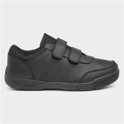 Boys Black Easy Fasten Shoe in Black