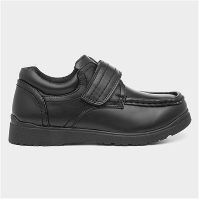 Boys Black Easy Fasten School Shoes