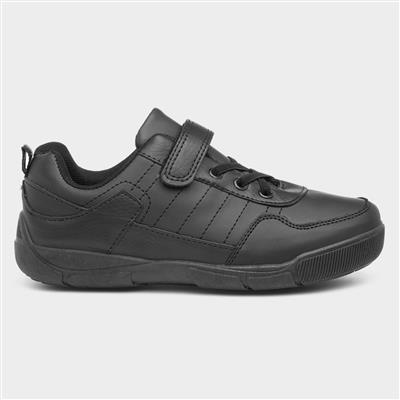 Boys Easy Fasten Black Shoe