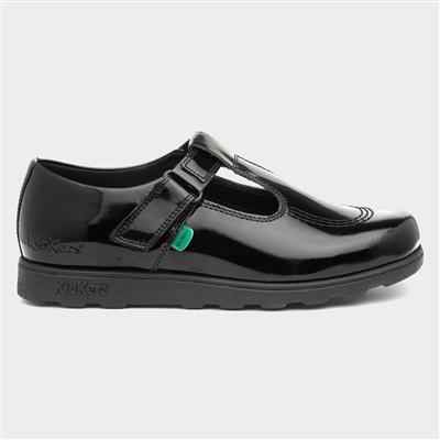 Fragma Girls Leather Black Patent Shoe