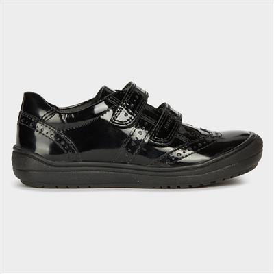 Girls Hadriel School Shoe in Black Patent