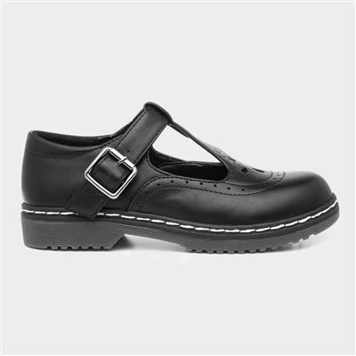 Girls Black T-Bar Buckle School Shoe
