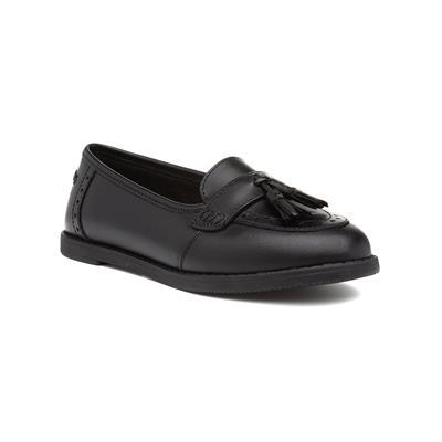 Harley Girls Black Leather Slip On Loafer