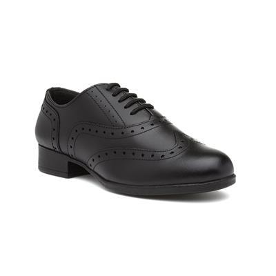 Bella Girls Black Leather Lace Up Brogue Shoe