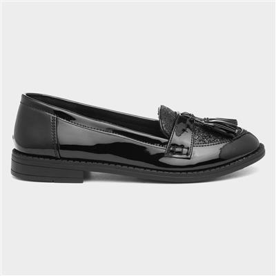 Girls Black Patent Loafer Shoe with Tassel