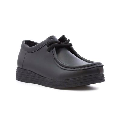 Kids Black Coated Leather Black Lace Up Shoe