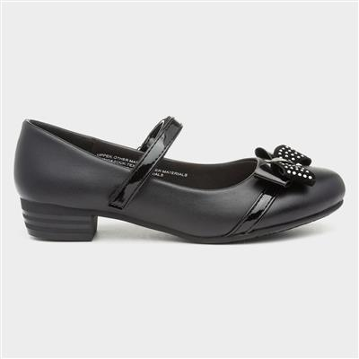 Girls Black Easy Fasten Shoe with Bow