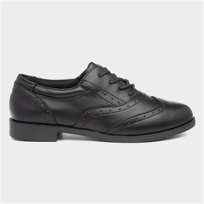Girls Lace Up Brogue Shoe in Black