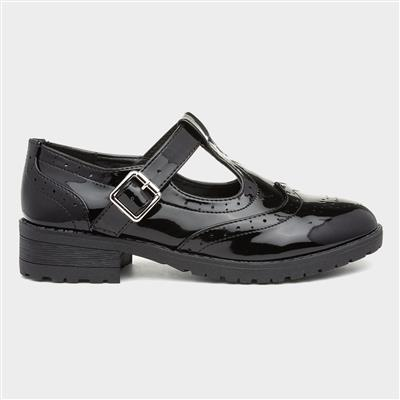 Girls Black Patent Brogue T-Bar School Shoe